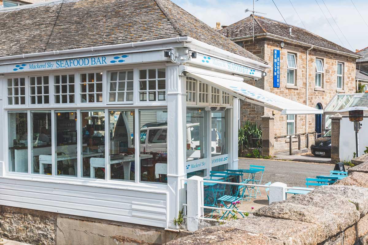 The outside of Mackerel Sky Seafood Bar in Newlyn, Cornwall