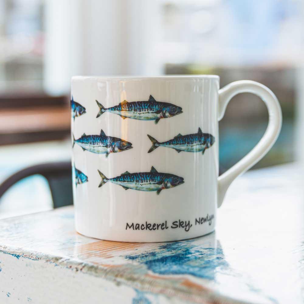 Our Mackerel Sky mug, designed by Florence Super.