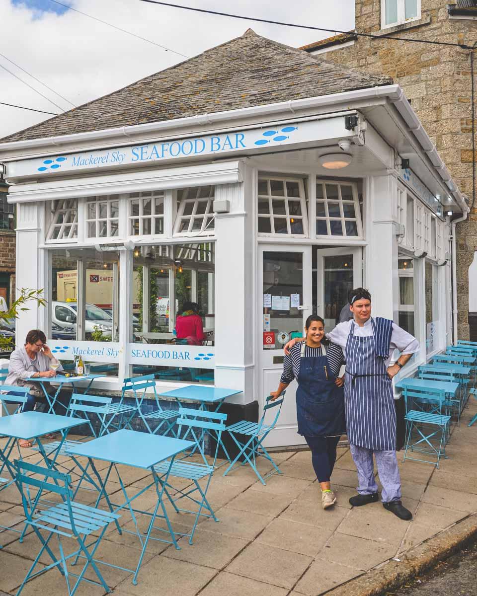 Nina and Jamie MacLean, the owners, outside of the Mackerel Sky restaurant in Newlyn, Cornwall.